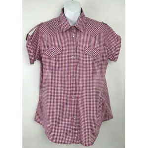 Wrangler Wrancher Short Sleeve Pink Plaid Shirt L